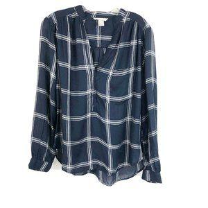 H&M Window Pane Plaid Popover Shirt Blue White 8